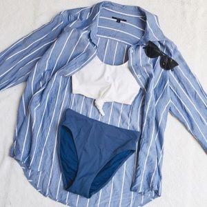 TAHARI Vintage Oversized Striped Button Down Shirt
